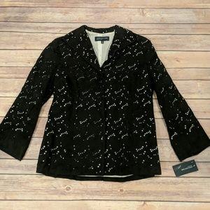 NWT, Size 4 Blazer/Blouse Black N White